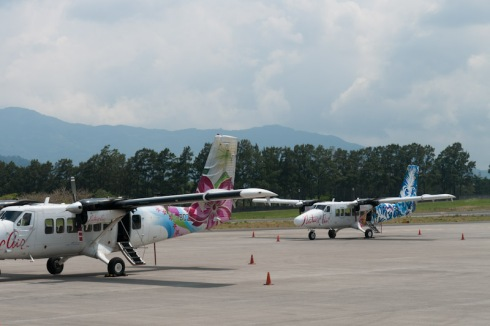 Nature Air planes at the small Bolaños airport. We travelled in the blue one, a Twin Otter, to Puerto Jiménez.