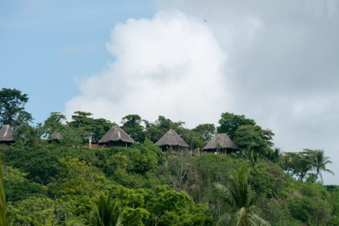 Some of the Lapa Rios bungalows as seen from the pan dulce playa
