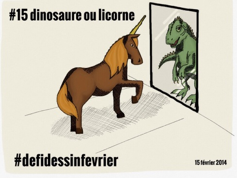 #defidessinfevrier jour 15, dinosaure ou licorne