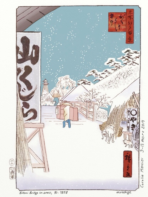 Hiroshige's Bikuni Bridge in snow 10-1858