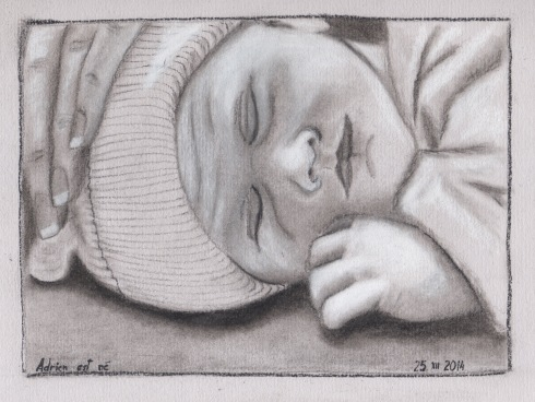 charcoal drawing of baby Adrien, made 25 December 2014