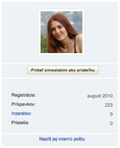 screenshot of user profile simsalabim