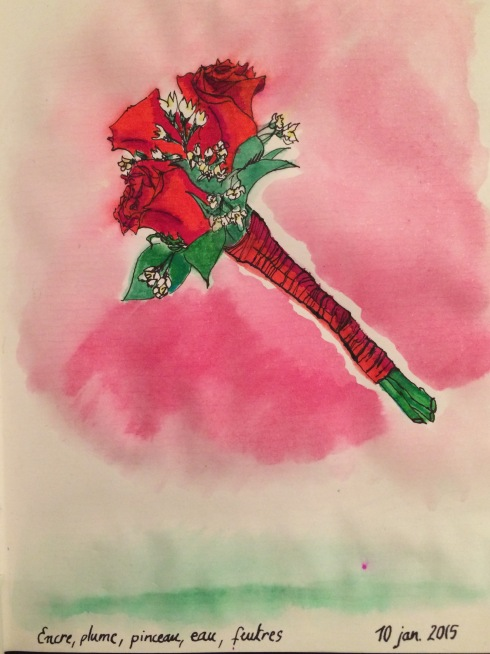 A small bouquet of roses, black ink, colour pens, spread with a water brush pen
