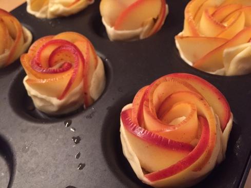 Roses aux pommes avant cuisson