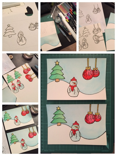 Christmas cards with red baubles