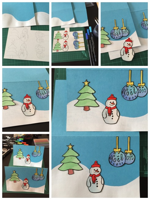 Christmas cards with blue baubles