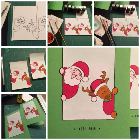 Christmas cards with Santa and reindeer