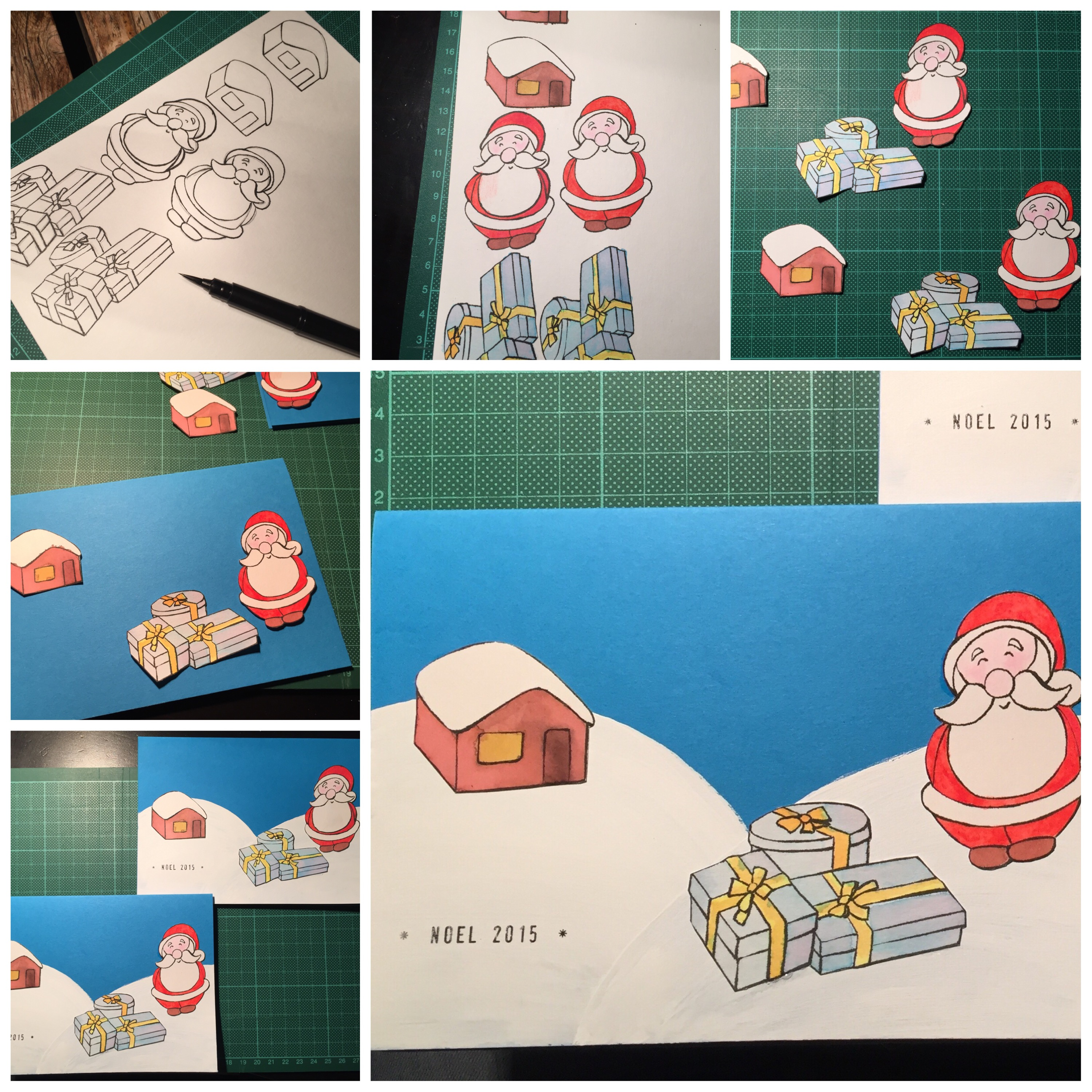Christmas cards with Santa, presents and little cabin