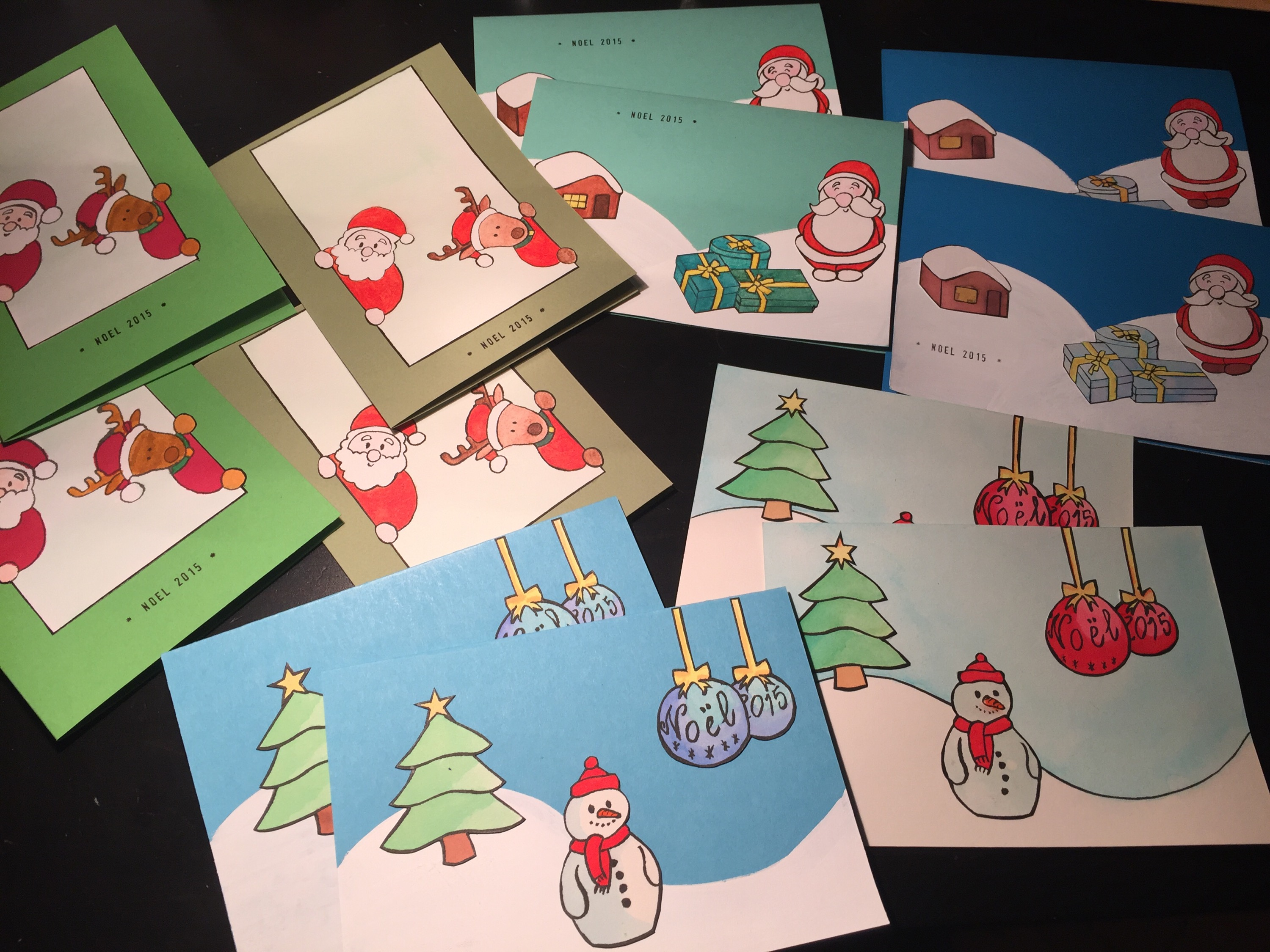 Photo of all the Christmas cards I made this month