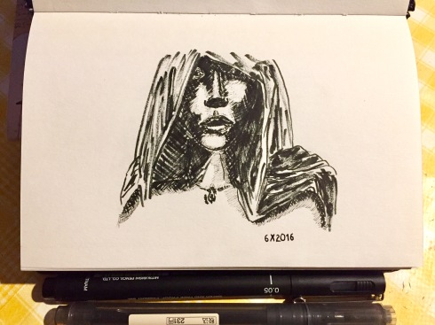 ink drawing of a woman hooded