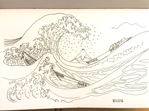 Black ink drawing of The Great Wave off Kanagawa by Hokusai