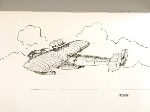 Black ink drawing of an aeroplane in flight. Scene from a Ghibli Studio picture.