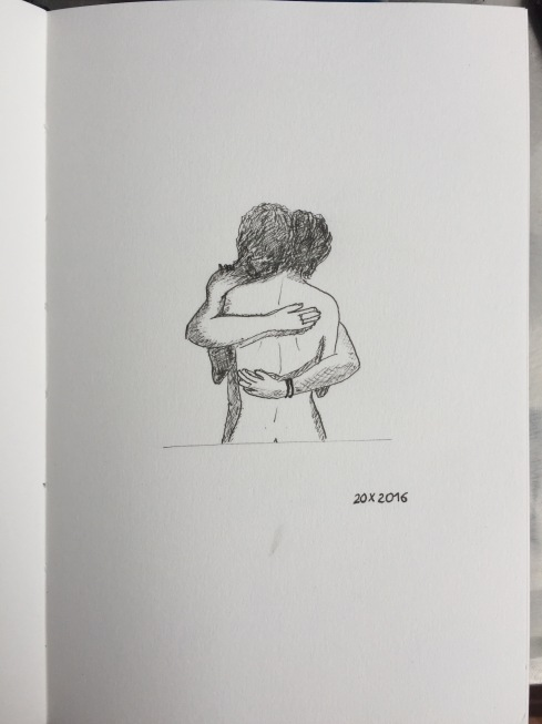 Black ink drawing of a couple embracing.