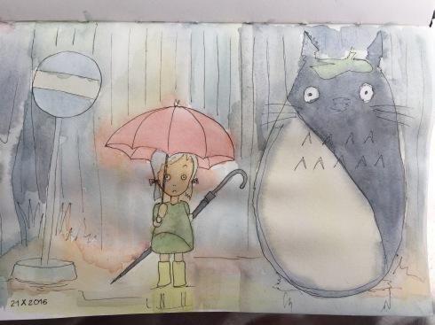 The rain scene from Hayao Miyazaki's picture My Neighbor Totoro.