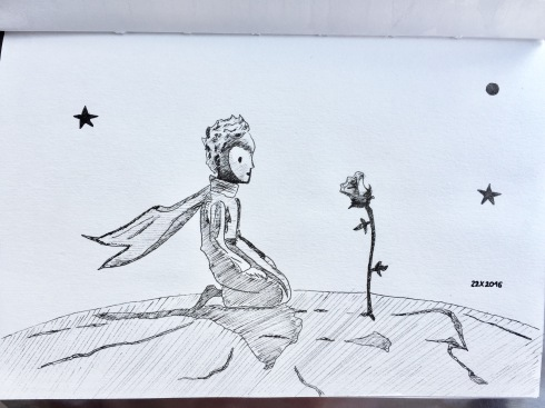 The Little Prince kneeling on a small planet in front of a rose.
