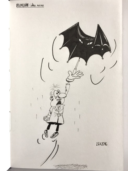 Reproduction in black ink of one of Franquin's drawing from Les Idées Noires. Umbrella turning into a bat and lifting the man holding it.