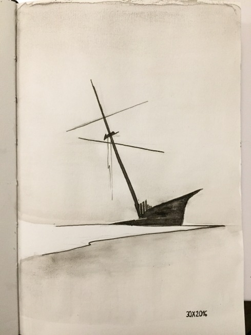 Shipwreck. Black ink and pen.