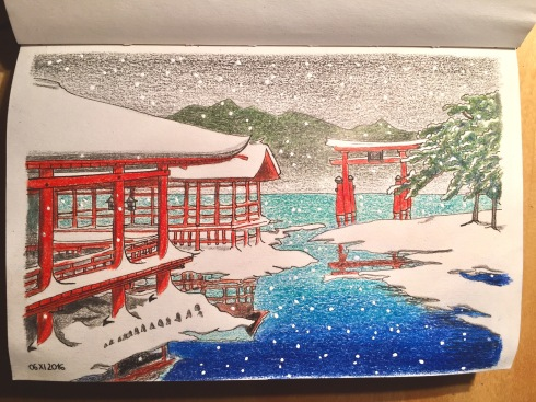 Kawase Hasui's Miyajima Shrine in snow. Buildings on the left, torii and trees on the right, snow falling.
