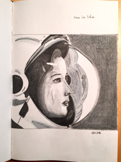 Black and white portrait of Anna Lee Fisher, American astronaut, wearing her helmet