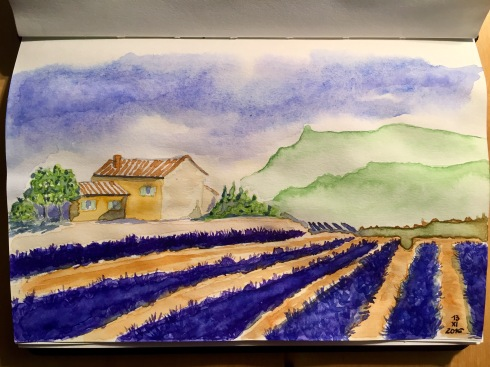 Lavender fields, country house, trees and hills.