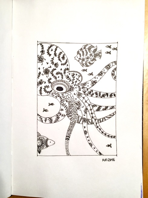 Octopus and fish, filled out with different thin and delicate patterns