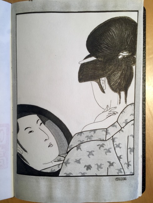 Powdering the neck. Reproduction of a Kitagawa Utamaro Ukiyo-e. Woman seen from behind, a hand on her neck, and the reflection of her face in the mirror she holds.