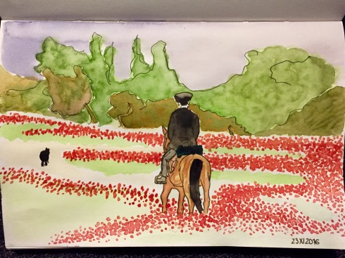 Watercolour painting of a man riding a horse and following a dog in a field of poppies.