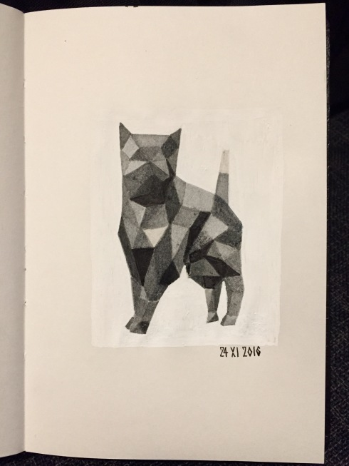 Cat standing, done in grey prisms done using shades of grey Faber-Castell PITT artist brush pens. White posca pen.