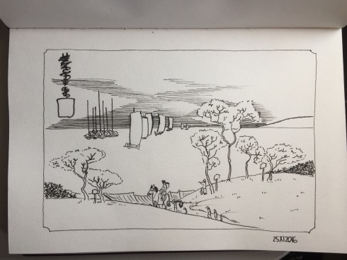 Sailboats and trees on a hill. Black ink drawing using a Uni pin pen. After Hiroshige.
