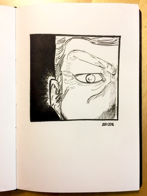 Close-up of the eye, brow, ear and side of the nose of The Vagabond, by Inoue Takehiko.