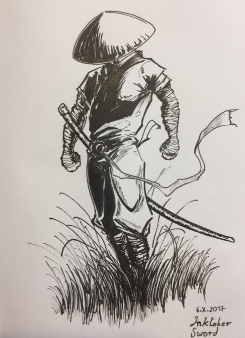 Ink drawing of a swordsman at the ready