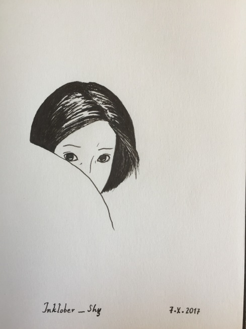 Ink drawing of a shy girl hiding half her face behind a shoulder