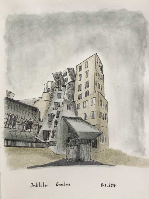 Ink drawing of the MIT Stata Center, by Frank Gehry. A crooked building.