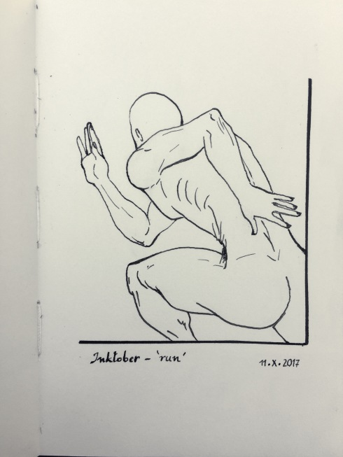 Pen and ink drawing of a naked man running