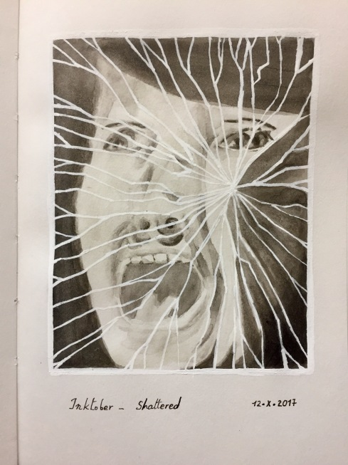 Grey India ink brush pen and white pigment pen drawing of a shattered mirror and reflection of a screaming woman