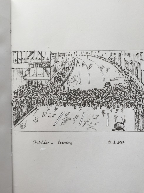 Ink drawing of one of the Shibuya Crossing streets in Tokyo, flooded with pedestrians
