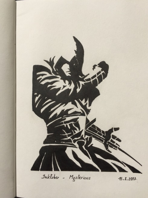 Black ink drawing of Ezio from video game Assassin's Creed
