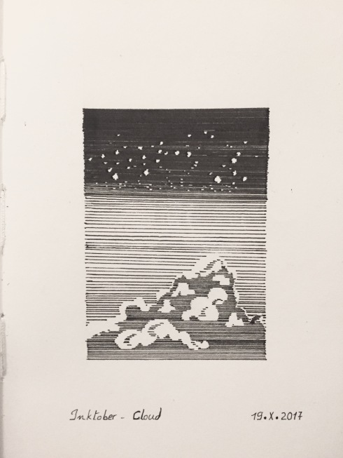 Black ink pin pen drawing of clouds, sky and stars, done with parallel straight lines