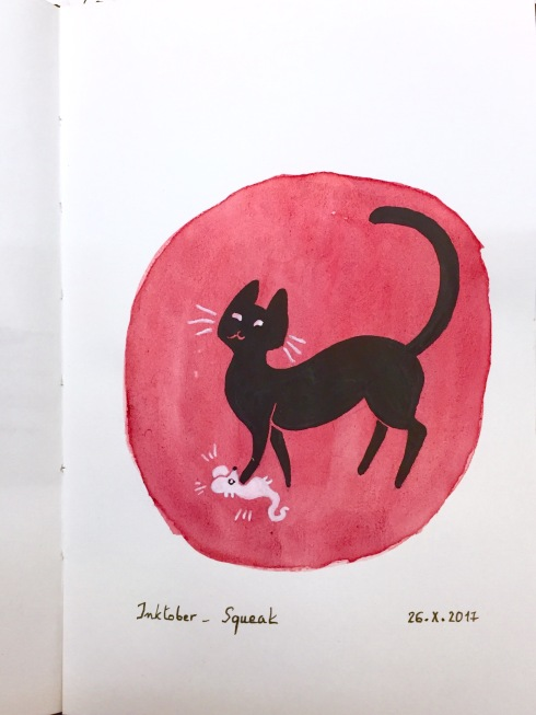 Black and white ink drawing of a cat playing with a mouse, against a circular background of red watercolour