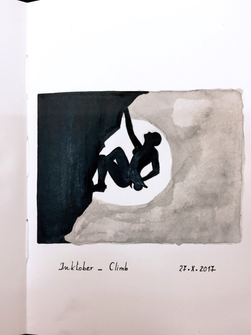 Black and grey ink drawing of the silhouette of a woman rock-climbing
