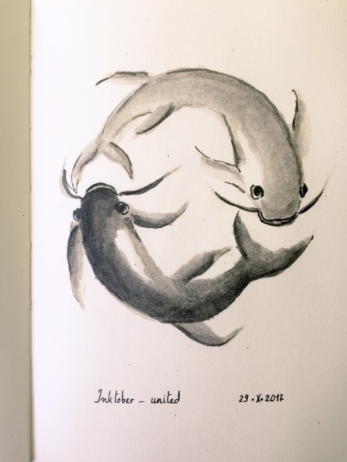 Grey India ink soft brush pen, black ink pin pen and black ink brush pen drawing of two carps, forming a circle