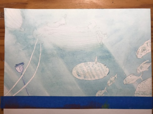Several layers of blue wash to render the light underwater