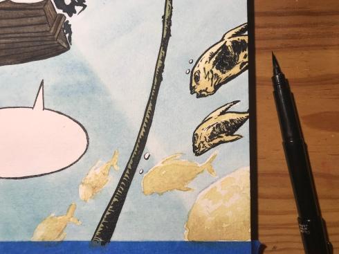 Detailing the fish using a Pentel black brushpen