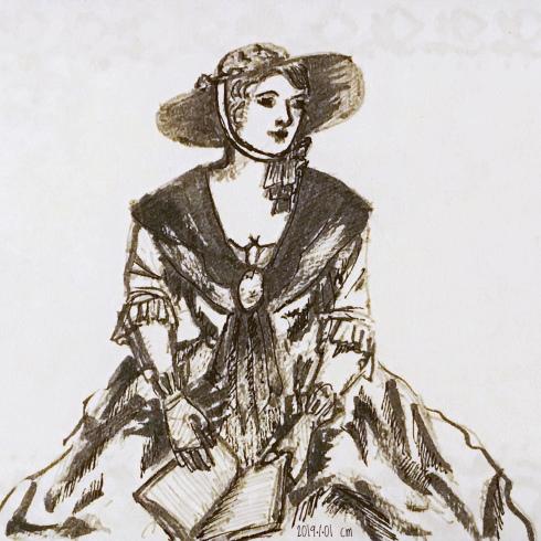 dessin à l'encre d'une femme lisant en habits du 19è siècle