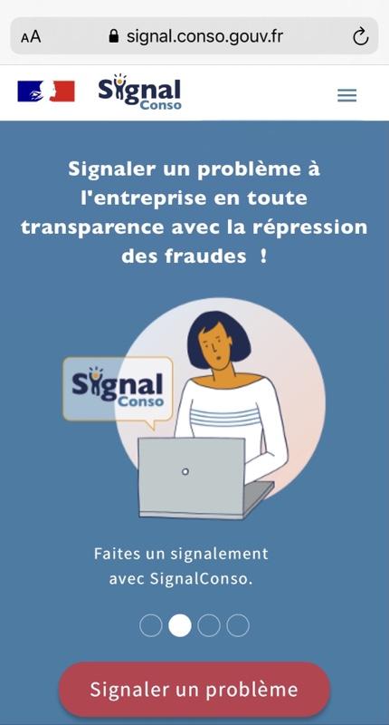 Dessin : personnage féminin devant un ordinateur portable duquel émane une bulle de texte indiquant «signal conso». Au dessoys de l'illustration figure en blanc sur fond rouge le bouton «signaler un problème»