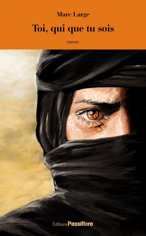 The book cover shows a drawing of the right side of the face of the hero who is wearing a head scarf: only his amber eyes are visible